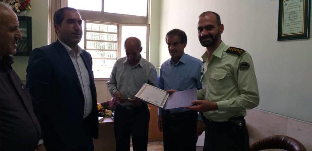تقدیر و تشکراز فرمانده انتظامی جناب سروان صادقی